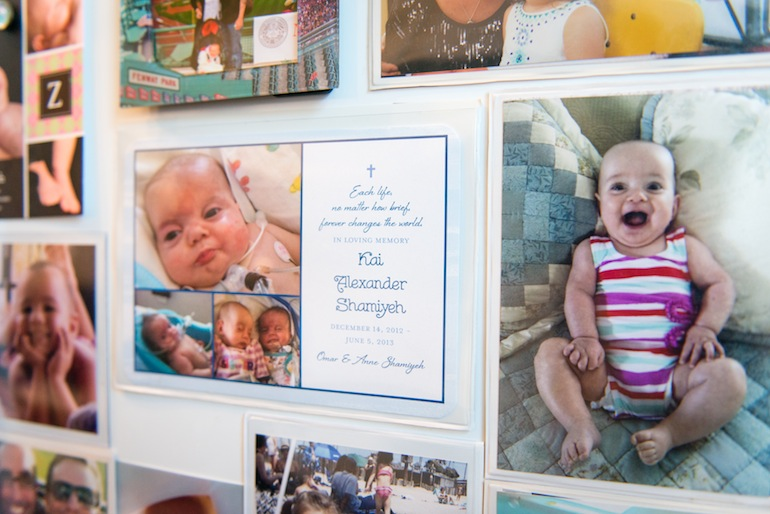 "Kai Shamiyeh's memorial card is posted on the refrigerator. ""Kai is part of our everyday life,"" said Annie Shamiyeh (Photo by Heidi de Marco/KHN)."