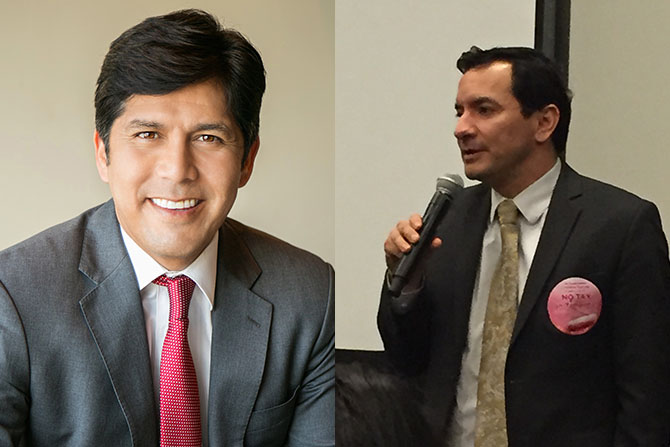 Latinos are playing a key role in new leadership positions in the California state assembly with Senate President pro Tem Kevin de León (l) and incoming Assembly Speaker Anthony Rendon playing key roles. (Redon photo: David Gorn/California Healthline)