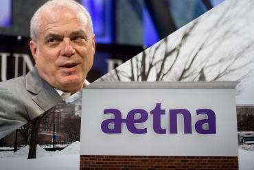 Aetna Chairman and CEO Mark Bertolini, and corporate headquarters in Hartford, Connecticut (Noah Berger/Fortune Global Forum via Flickr, Ron Antonelli/Bloomberg via Getty Images)