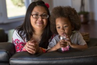 Kimberly Turbin, 29, and her son Rio Turbin, 3, in Stockton, Calif., on June 23, 2016. The video of her episiotomy is on YouTube and has been viewed more than 420,000. (Robert Durell for Kaiser Health News)