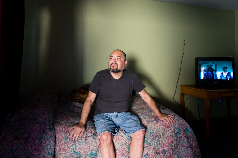 Quiñones in his room at the Coral Motel in Buena Park, Calif., on Friday, February 12, 2016. After gallbladder surgery, Quiñones didn't have anywhere to recover and ended up at the motel used by the Illumination Foundation Recuperative Care . (Heidi de Marco/KHN)