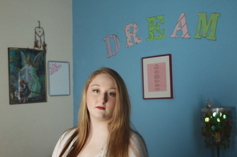 Shariah Vroman-Nagy in her bedroom in Redding, Calif. (Andreas Fuhrmann/KQED)