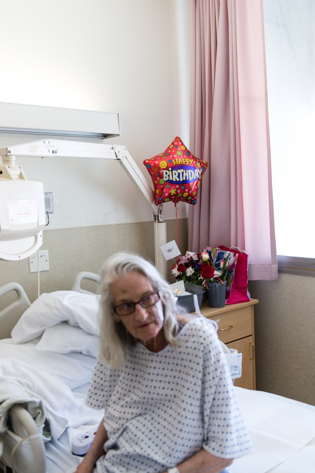 Prochazka celebrated her birthday during her stay at the hospital. She was admitted to the hospital in March after injuring herself in a fall. (Heidi de Marco/KHN)