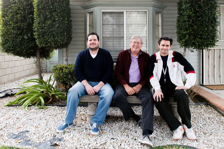 John, left, and Jay Kitchen, right, with their father in Colton, Calif., in late 2015. (Heidi de Marco/California Healthline)