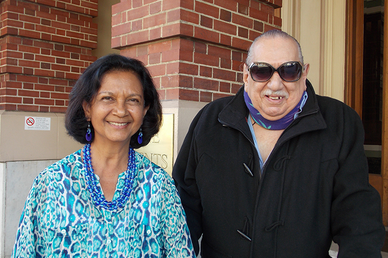 Emil Girardi, 83, and Shipra Narruhn, 67, head out to one of their favorite restaurants for lunch. Girardi said that because of their friendship, he nolonger fears going out of his house or getting older. Research shows loneliness canimpact seniors' health. (Anna Gorman/KHN)