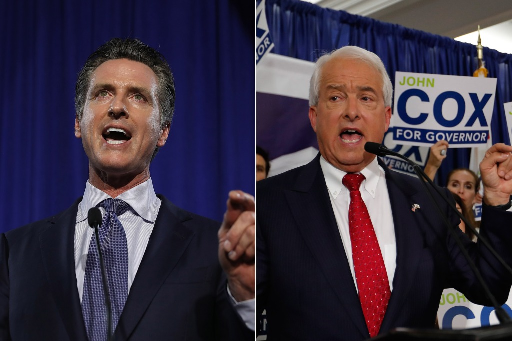 Gavin Newsom and John Cox