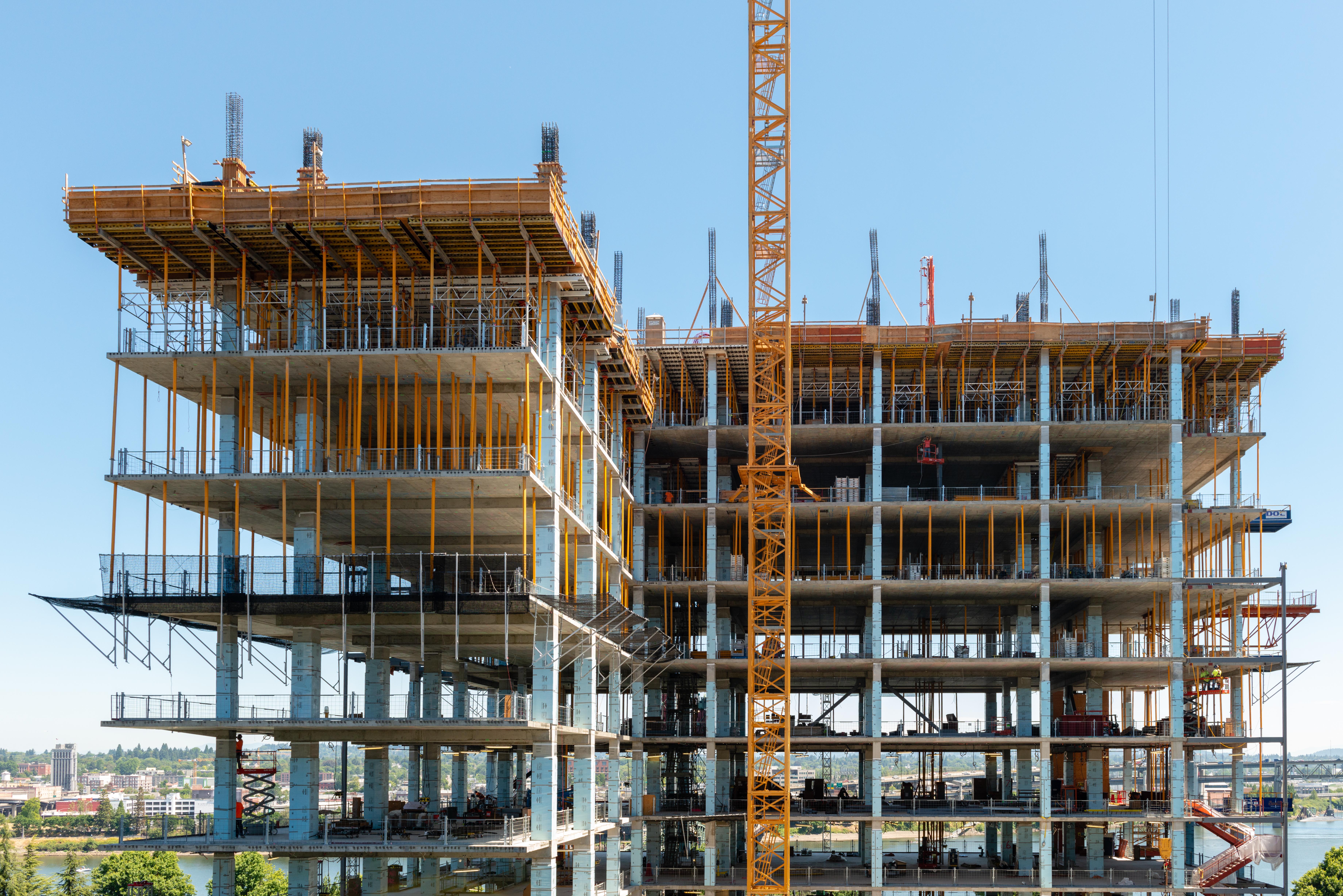 A construction site in Portland, Ore., on July 24. (Heidi de Marco/KHN)