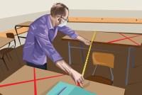 illustration of male school teacher measuring distance between school desks